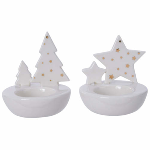 Svícen na čajovku dekor strom/hvězda porcelán bílá 9,5cm