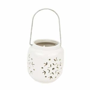 Svícen na čajovku kulatý/vločka 1 ucho keramika bílá 10cm