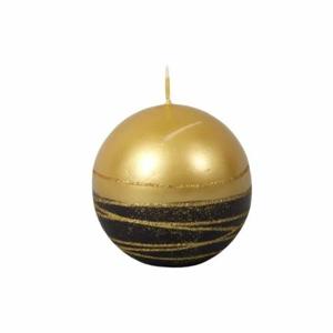 Svíčka koule LUMINA GOLD metalik glitry pruhy černo/zlatá 8cm