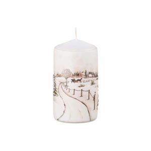 Svíčka válec zimní krajina bílá 11cm