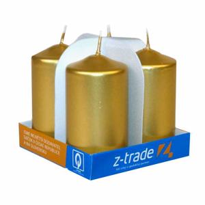 Válcová svíčka metalická 90mm zlatá 4ks