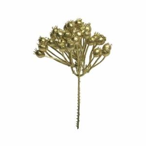 Větev bobule umělá zlatá 20cm