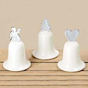 Zvonek s vánočním motivem 13cm porcelánový mix motivů